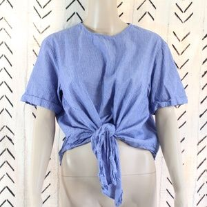 BP Nordstrom Striped Tie Top Blue Size XS